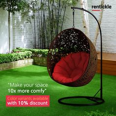 Spruce up your favourite seating space with this eye-catching Egg Swing Chair. There's no time like the present to get creative with your outdoor seating!   Thinking of Renting. Think of Rentickle! . . #stylishswingchairs #swingchair #hangingchair #swingchairs #hangingchairs #furnitureonrent #outdoorspace #eggchairs #mychair #home #homedesign #favoritespace #outdoorseating #furniturerental #rentickle #interior #favoritechair #creativespace #interiordesign #seating #relaxing #relaxation