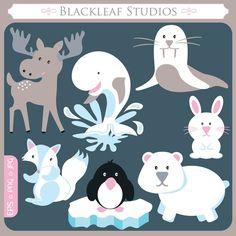Baby Arctic Animals digital image download  by blackleafdesign, $5.00