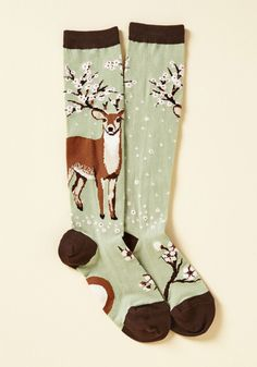 So Deer to Me Socks. Carefully plucking these socks from your drawer, you cordially admire how lovely they are. #green #modcloth