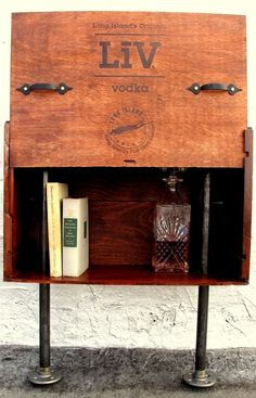 Custom Table made from Wine Crates.. LOVE these! The metal legs give it a great look