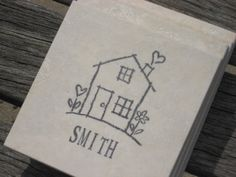 Personalized Coasters - House Coasters - Set of 4 Tile Coasters - Hand Stamped - Wedding
