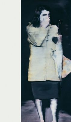 """For 'Woman with Umbrella' (1964), Richter used a media photo of Jackie Kennedy as a source, but deliberately obscured her identity: """"It was not the personality of the people that I was looking for, more a case of opening the newspaper and magazines and seeing a photograph that appealed to me as a photograph."""" (Comments on some works, 1991)"""