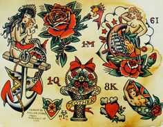Vintagegal Sailor Jerry Tattoo Flash Personal Note This Mermaid Tattoo Design Sailor Jerry Flash, Sailor Jerry Anchor, Traditional Tattoo Design, Traditional Ink, Traditional Tattoo Flash, American Traditional, Girly Tattoos, Old Tattoos, Flash Tattoos
