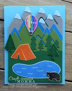 Craft-somnia Momma: Spirit of Walla Walla ~ Monday Montage - SU - Always An Adventure Camping Cards, Mason Jar Cards, Balloon Crafts, Bear Card, Walla Walla, Scrapbook Cards, Scrapbooking, Retirement Cards, Stampin Up Catalog