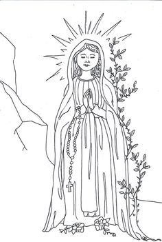 Icon of mary coloring pages 2 jpg 529 775 icon line for Our lady of lourdes coloring page