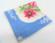 Pink Daisy, Daisy Flowers, Rose Basket, Vintage Handkerchiefs, Classic Gold, Blue Backgrounds, Red Glass, Vintage Gifts, Vintage Accessories