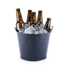 Ice Wine Bucket, Blue Enamel Beer Large Insulated Vintage Ice Bucket, With Opener (Sold by Case, Pack of Wine Related Gifts, Wine Chillers, Beer Bucket, Home Brewing, Beer Brewing, Wine Tasting, Red Wine, Barware, Cool Things To Buy