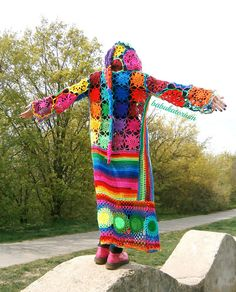 Kaleidocoat - Multicolor Multimotif Striped And Hooded Hippie Crochet Coat by babukatorium, via Flickr