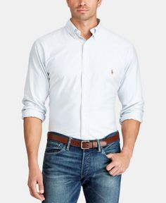 Polo Ralph Lauren Men's Big and Tall Classic Fit Long-Sleeve Oxford Shirt - Blue/White Stripe Ralph Lauren Hombre, Camisa Ralph Lauren, Polo Ralph Lauren, Style Casual, Smart Casual, Men Casual, Casual Menswear, Casual Jeans, Work Casual