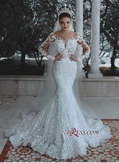 Buy Vestido De Noiva Sexy Long Sleeves Lace Wedding Dress 2019 New See Through Back Lace Mermaid Robe De Mariee Custom Bride Dress at Wish - Shopping Made Fun Scoop Wedding Dress, Mermaid Wedding Dress With Sleeves, Cheap Lace Wedding Dresses, Wedding Dresses 2018, Luxury Wedding Dress, Long Sleeve Wedding, Mermaid Dresses, Bridal Dresses, Prom Dresses