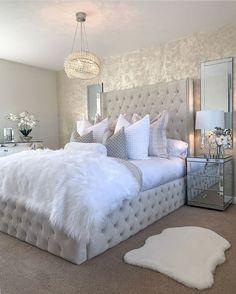Grey Bedroom Decor, Bedroom Decor For Teen Girls, Room Design Bedroom, Stylish Bedroom, Room Ideas Bedroom, Home Bedroom, Glam Bedroom, Long Bedroom Ideas, Rich Girl Bedroom