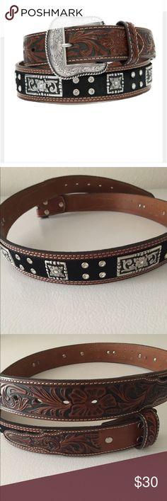 Men's Nocona Handtooled Leather Belt Men's Nocona handtooled leather belt with black calf hair,  conchos and rhinestones.  Buckle not included. Accessories Belts