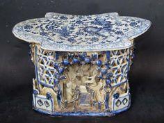 RARE Chinese Blue White Porcelain Dragon Phoenix Pillow | eBay