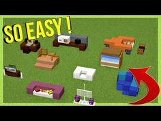 10 Easy Furniture Ideas - Minecraft on Home Inteior Ideas 2214 Minecraft Youtube, Video Minecraft, Minecraft Houses Xbox, Minecraft Modern, Minecraft Room, Minecraft House Designs, Minecraft Houses Blueprints, Minecraft Tutorial, Minecraft Creations