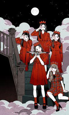Red Velvet Peek-A-Boo fanart Velvet Wallpaper, K Wallpaper, Trendy Wallpaper, Fanart Manga, Kpop Fanart, Fan Art, Kpop Anime, Kalender Design, Art Et Design