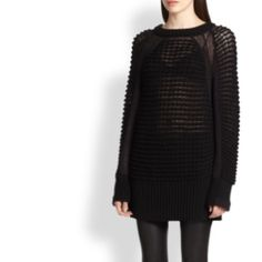 Helmut Lang Macro-Grid Knit Sweater Black Excellent gently preloved condition. Worn once and dry cleaned. Stunning macro-grid black knit sweater in classic yet statement making style. I should have gone with an XS, this is too large on my frame. Fits true to HL S (4-6). Helmut Lang Sweaters