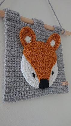 Crochet Panda, Crochet Fox, Love Crochet, Crochet For Kids, Diy Crochet, Crochet Wall Art, Crochet Wall Hangings, Crochet Decoration, Woodland Decor