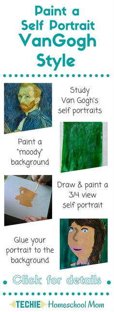 VanGogh painted over 30 self-portraits. With this art lesson, elementary and middle school children study Van Gogh's self-portraits and paint their own.