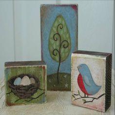 I love the nature theme on these mini wood blocks.