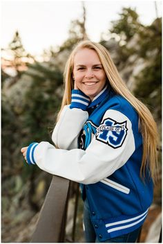senior portraits in the mountains in the fall with blue and white high school letterman jacket Letterman Jacket Pictures, Letterman Jacket Outfit, Varsity Letterman Jackets, Palm Springs, Blue Jacket, Jacket Style, Sporty Outfits, Outfits For Teens, Fall Outfits