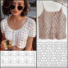 Motif Bikini Crochet, T-shirt Au Crochet, Crochet Bolero, Pull Crochet, Mode Crochet, Crochet Shirt, Crochet Crop Top, Crochet Woman, Crochet Summer Tops