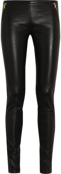 Stretch Leather Skinny Pants - Lyst