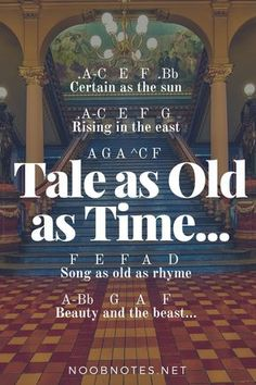 music notes for newbies: Tale as Old as Time – Beauty and Beast (Disney). Play popular songs and traditional music with note letters for easy fun beginner instrument practice - great for flute, piccolo, recorder, piano and Piano Sheet Music Letters, Clarinet Sheet Music, Piano Music Notes, Easy Piano Sheet Music, Music Chords, Violin Music, Music Sheets, Guitar Chords, Disney Piano Music