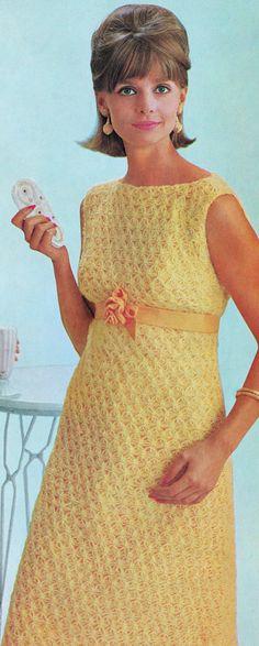 Crocheted Empire Shift Dress Vintage Crochet PDF Pattern Bust