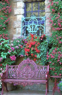 Garden Gates, Garden Art, Garden Design, Beautiful Gardens, Beautiful Flowers, Colorful Flowers, Pink Flowers, Wrought Iron Bench, Garden Seating