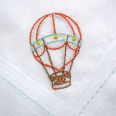 Hot Air Balloon  Handkerchief by stitchado on Etsy, $16.00