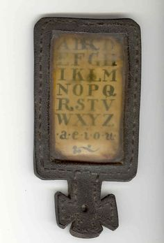 Hornbooks, n.d.: Due to the influence of Latin, the letters J and I used to be considered interchangeable, as did the letters U and V. The material covering these old hornbooks is actually made from cow and ox HORNS, which were soaked in water, heated, flattened, peeled, scraped and polished.