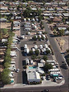 Aerial Photo Of Green Acres RV Park In Mesa AZ