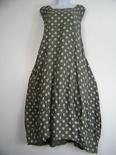 PLUS PLUS SIZE 100% LINEN SPOTTY LAGENLOOK DRESS WITH FRONT POCKETS SIZE 16-22 in Clothes, Shoes & Accessories, Women's Clothing, Dresses | eBay