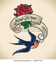 Old-school styled tattoo of a swallow with banner and rose.