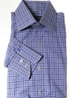 Tom ford shirt blue white check mens 16.5 - Tweedmans Vintage d3afaa53c19f