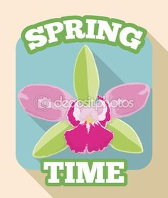 Orchid Springtime Sign with Delicate Colors, Vector Illustration Long Shadow, Trendy Colors, Spring Time, Orchids, Exotic, Delicate, Signs, Illustration, Flowers
