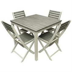 5-Gather Gray and White Acacia Wood Outdoor Patio Dining Table and Chair Furniture Set
