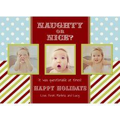 personalized digital christmas holiday 3 photo card naughty or nice christmas photo cards - Naughty Or Nice Christmas Card