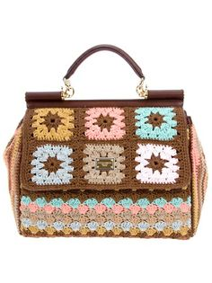 Brown cotton and leather crochet shoulder bag from Dolce.