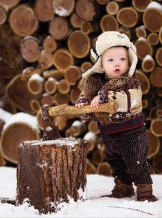 Little woodsman in the snow...this is the most adorable thing I've ever seen...can one of my friends with a boy please take a pic like this?