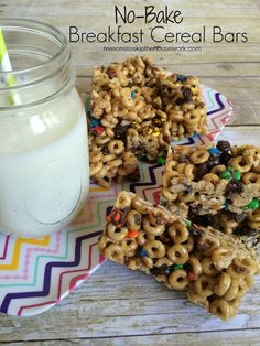 NO BAKE breakfast cereal bars - use regular Cheerios or Honey Nut for added sweetness. Take out the m&m's.