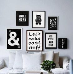 Wall collage - Typography Poster quote print Black & White by blackandtypeshop