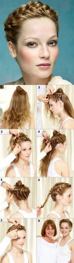 STEP 1 Section the centre of the hair and secure it. STEP 2 Begin the braid behind the ear on one side and section the hair into 3. STEP 3 Work around the head and pick up from the outside of the hair only. STEP 4 Continue till the starting point. STEP 5 Braid the rest of the hair, pin the ponytail under the front part. STEP 6 Release the pin from the first section and braid the hair. STEP 7 Wind the braid around the head and secure with a pin. STEP 8 Open out the braid.