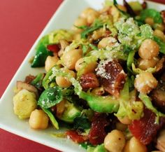 Warm Chickpea, Mushroom, and Brussels Sprouts Salad | Beantown Baker #healthy #recipe