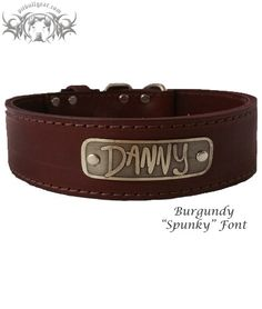 "W49 - 2"" Name Plate Latigo Leather Dog Collar from Pit Bull Gear"