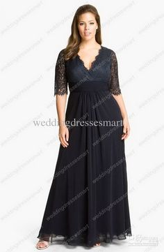 Wholesale Black long sleeve sheath Plus Size Prom dress v-neck ...