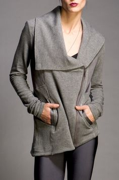 Asym hem French Terry jacket with magnet collar closure and shiny quilted details.