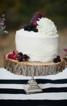 Berry Garnished Rustic Wedding Cake. Something simple like this would be nice.