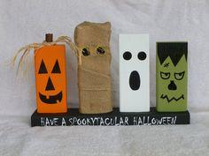 Wood Block Halloween Decoration with Pumpkin by LisasLittleJoys