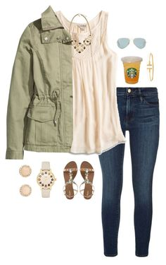 """hi!!"" by preppin ❤ liked on Polyvore featuring Frame Denim, Lucky Brand, Kendra Scott, H&M, Kate Spade, Accessorize, Tiffany & Co. and Ray-Ban"
